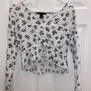 Forever 21 long sleeve floral crop top